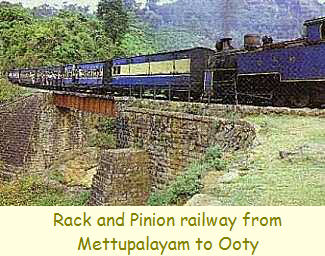 Rack and Pinion railway from Mettupalayam to Ooty