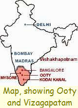 Map showing Ooty and Vizagapatam